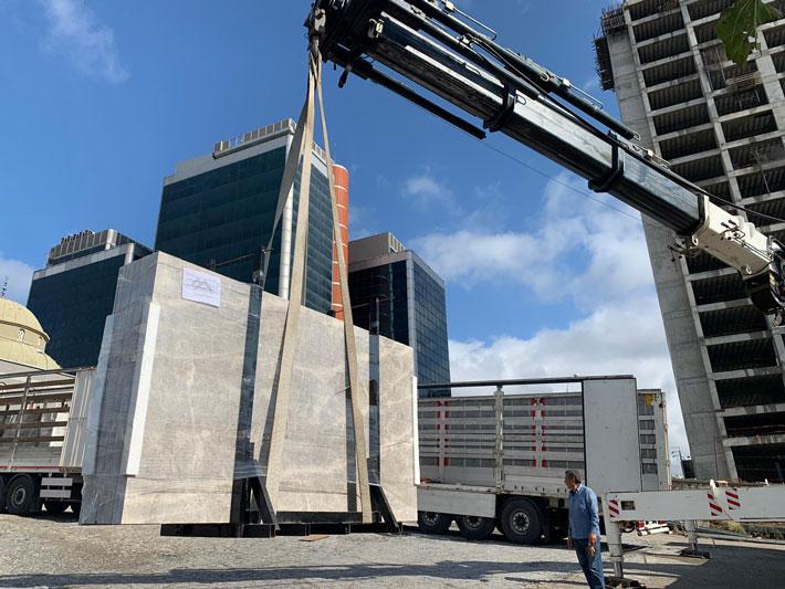 بسته بندی سنگ ساختمانی برای صادرات